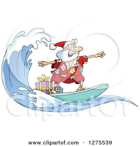 clipart of santa clause surfing and riding a wave with