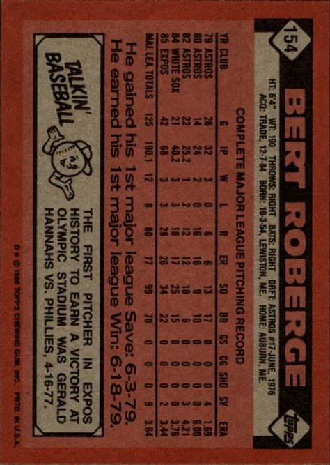 Pick Your Gift Card - 1986 topps baseball base singles 133 247 pick your cards ebay