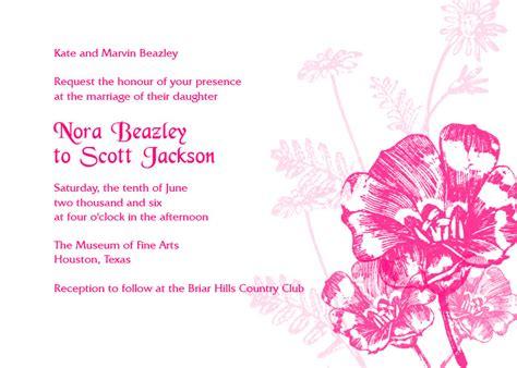 free pink wedding invitation templates pink flowers wedding invitation wedding invitation