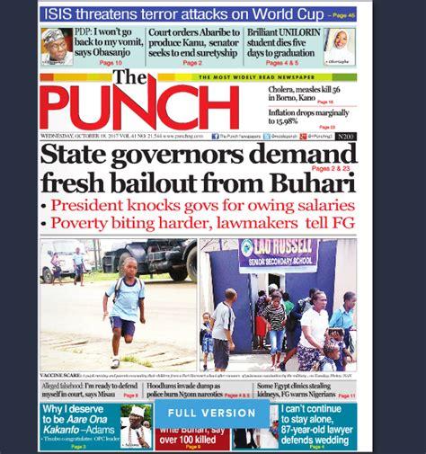 latest nigerian news nigerian newspapers online naija newspapers today s the punch newspaper headlines