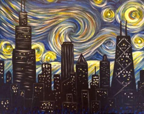 paint nite cities byob chicago skyline gogh inspired paint n sip