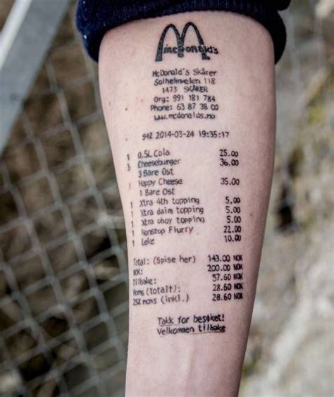 mcdonalds tattoo mcdonald s rechnung ziert arm des norwegers stian