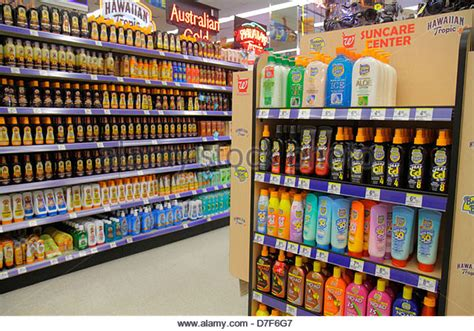 Sunblock Shelf by Competing Brands Stock Photos Competing Brands Stock