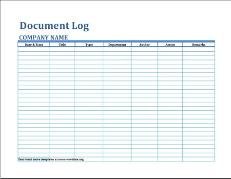 formal document log template word document templates