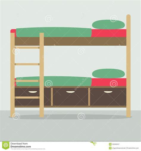 side view  bunk bed  floor stock vector illustration
