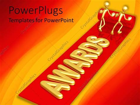 powerpoint template two golden figures unrolling red