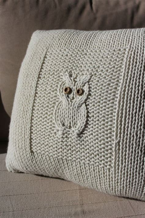 knitted owl cushion owl knit cushion crochet knit textiles