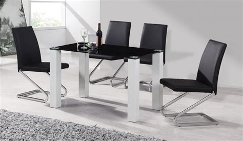 Black Glass White High Gloss Dining Table 4 Chairs Black Dining Table And 4 Chairs