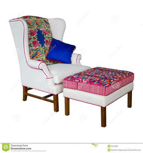white fabric armchair white fabric armchair and stool stock image image 25419801