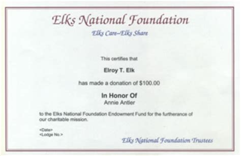 Thank You Note For Donation In Honor Of Someone Elks National Foundation Tribute Gifts