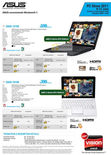 Asus Laptop Singapore Challenger asus challenger notebook 1215b 1015b amd pc show 2011 price list brochure flyer image