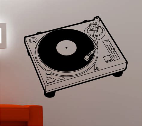 decks records dj record deck turntable wall sticker