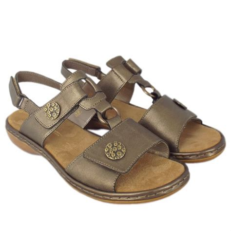 comfortable fashionable shoes rieker tavira women s comfortable sandals in metallic