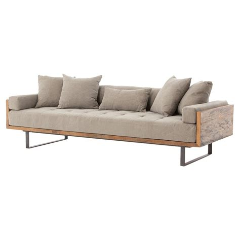 wood couch frame lloyd industrial lodge taupe tufted cushion wood frame