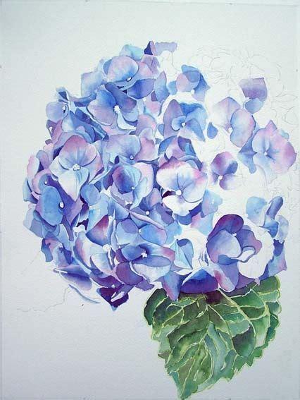 tutorial watercolor tattoo hydrangea watercolor arte pinterest blue hydrangea