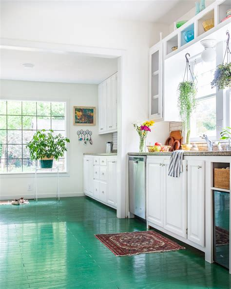 Painted Kitchen Floor Ideas by This Kitchen With Its Green Painted Floors So Much