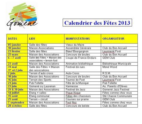 Calendrier Des Fetes 2013 Commune De Gomen 233 Calendrier Des F 234 Tes