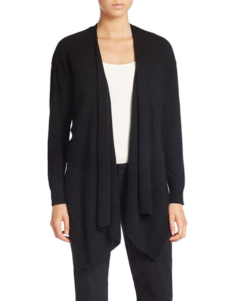 drape neck cardigan lord taylor drape neck cashmere cardigan in black lyst