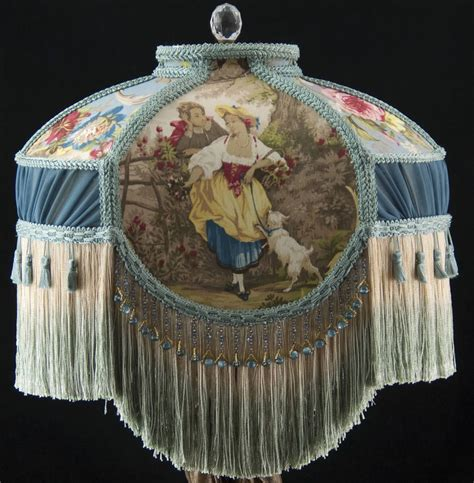 victorian l shades with beaded victorian lamp shade fragonard blue fabric and chiffon