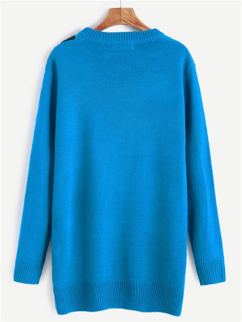 heart pattern sweater blue heart pattern sweater dressfor women romwe