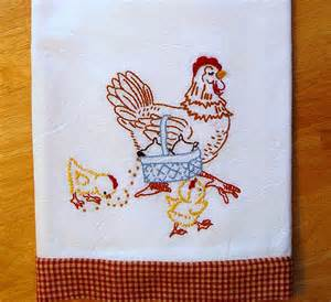 Kitchen Towel Embroidery Designs Hen Embroidered Floursack Tea Towel With Vintage Embroidery Design Flickr