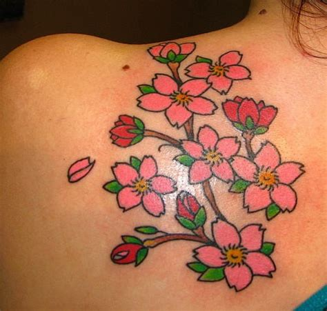 Small Simple Flowers Cherry Blossom Tattoo On Shoulder Simple Cherry Blossom Back