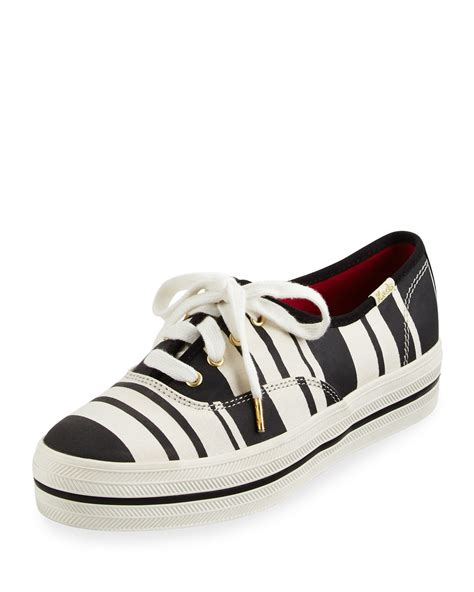 kate spade new york kick striped canvas sneakers in
