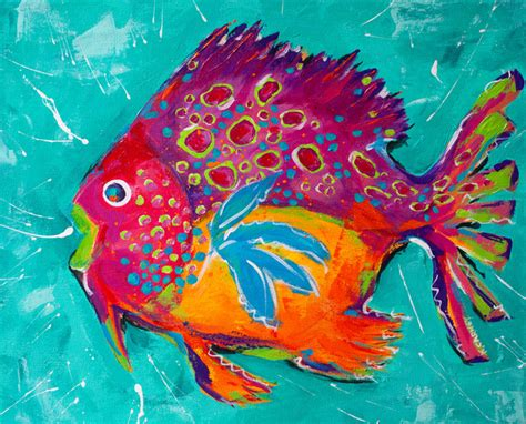 Beachy Dining Room Tables by Whimsical Colorful Fish Paintings View In Your Room