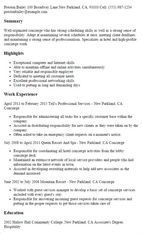 residential concierge resume sle concierge resume sle 28 images clinic administrator