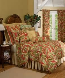 Lavish red gold green tropical leaf 100 cotton duvet cover set king