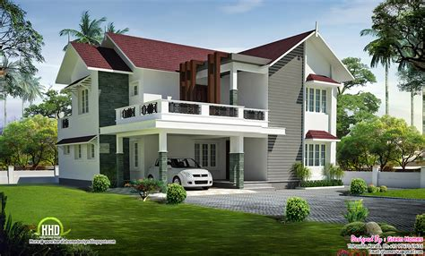 beautiful sloping roof villa kerala home