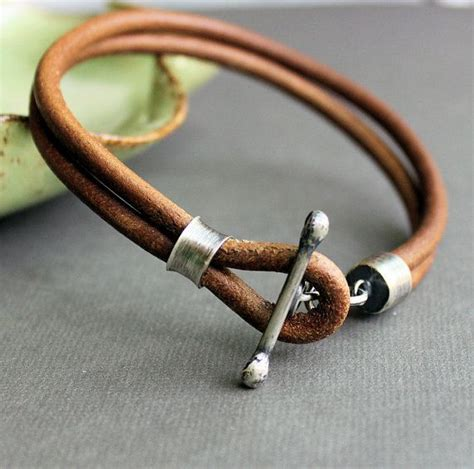 Handmade Mens Leather Bracelets - mens leather bracelet rustic light brown handmade