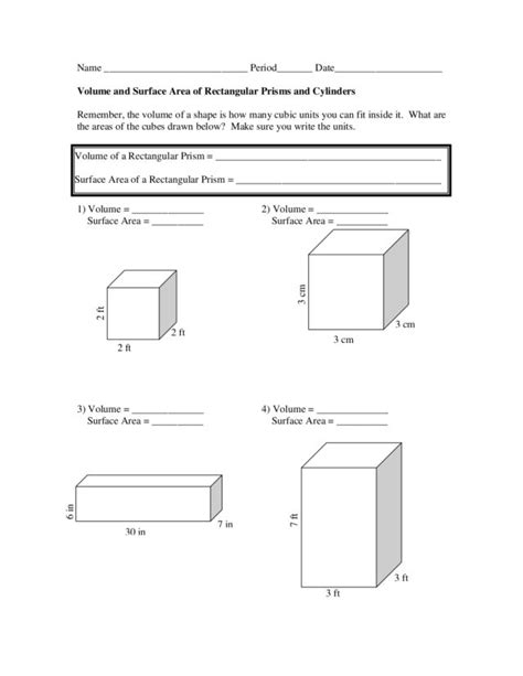 Volume Rectangular Prism Worksheet by Surface Area And Volume Worksheets With Answers