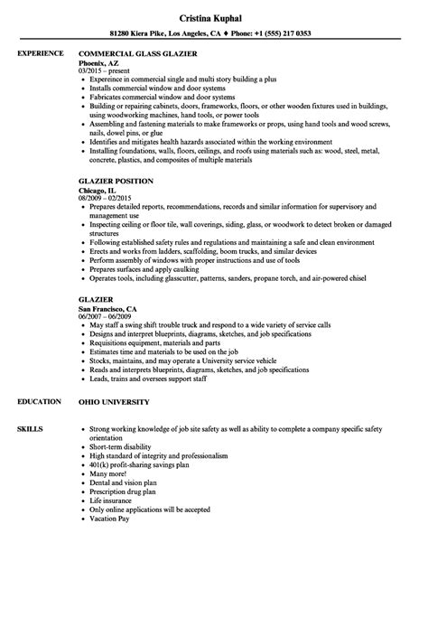 Journeyman Glazier Resume by Glazier Resume Sles Velvet
