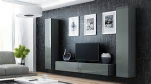 Grey Living Room Wall Units High Gloss Tv Cabinet Tv Wall Unit Tv Stand Grey Viva