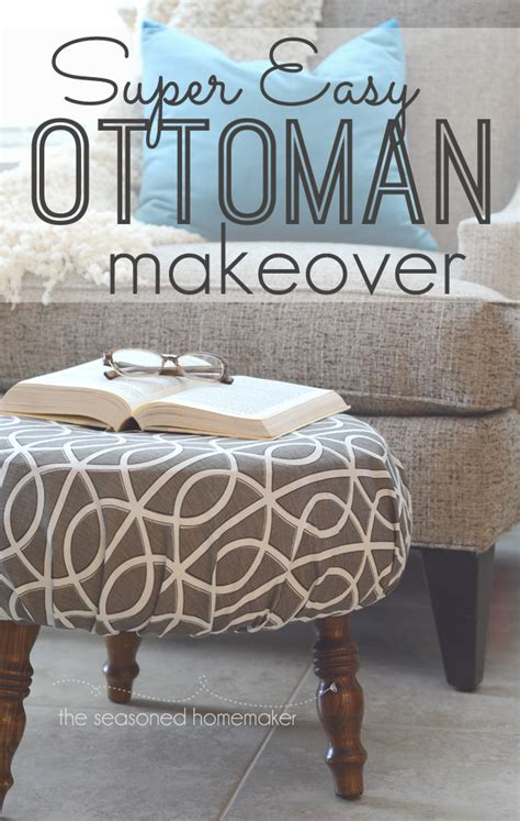 how to recover a round ottoman diy ottoman makeover an easy way to recover a footstool