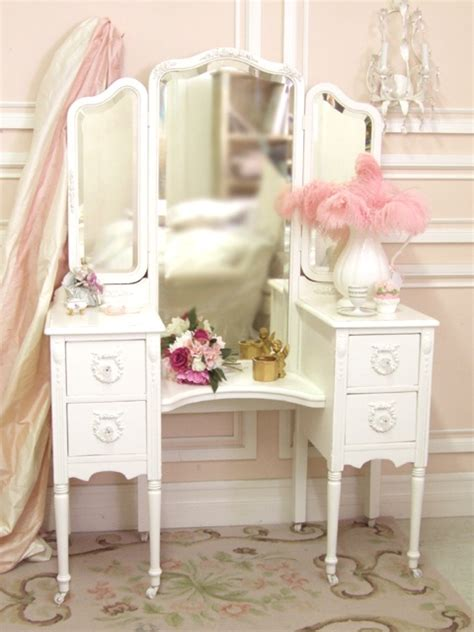 shabby chic white trifold vanity vanity tables items