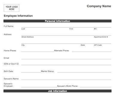 employee data sheet and confidential information form template