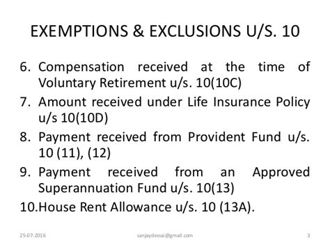 allowances exempt under section 10 income exempt under section 10 for assessment year 2016 17