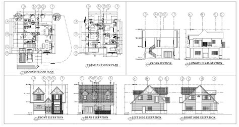 storey residence  sqm american theme cad files