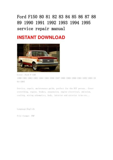 auto repair manual free download 1990 ford f series user handbook 1990 ford f 150 haynes service manual