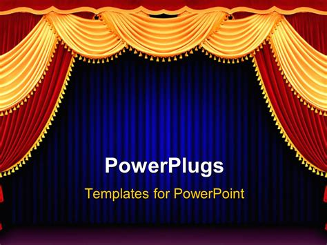 powerpoint template red and gold theater curtain tied