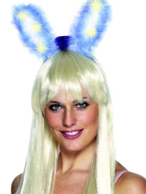 light up bunny ears marabou light up glow bunny ears 26906 fancy dress ball