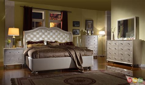 white tufted bedroom set pearl white tufted wing back bed faux croc bedroom
