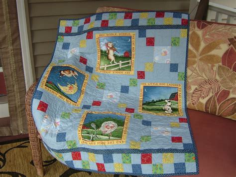 Crib Size Quilt Featuring A Nursery Rhyme Theme In By Size Of Baby Quilt For Crib