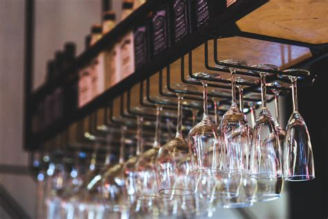 Restaurant Glass Rack by Hanging Wine Glasses 183 Free Stock Photo