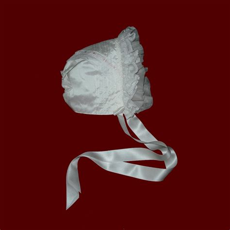 ruffle bonnet silk bonnet with organza ruffle christening
