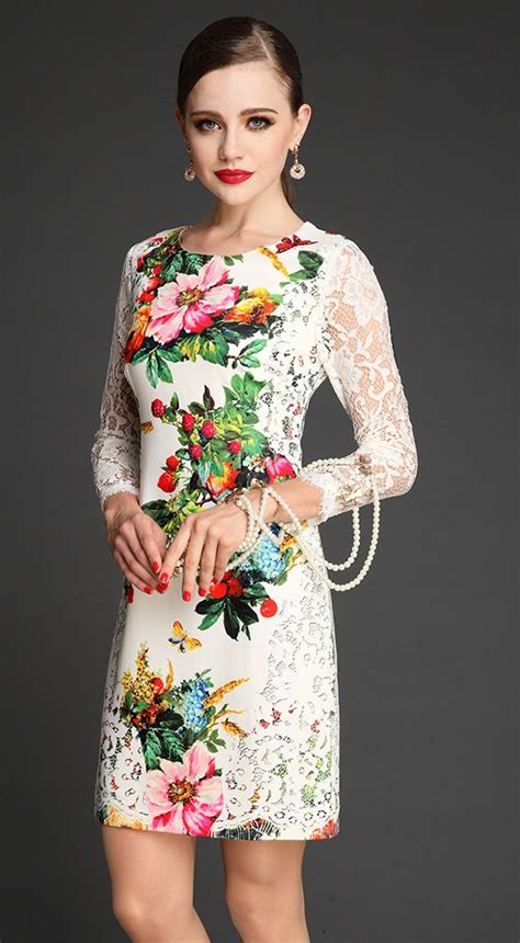 Print Sleeves Dress white contrast lace sleeve floral print dress