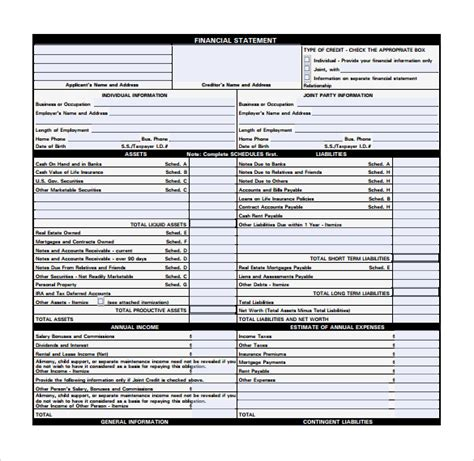 personal financial statement forms 15 personal financial statement form free sles