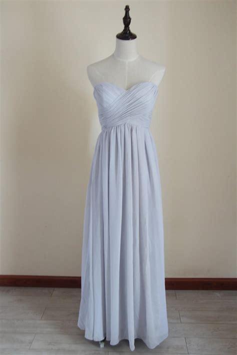Light Gray Bridesmaid Dress Chiffon Light Grey Floor